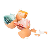 Malaysia Currency and Eggshells IX Stock Photography
