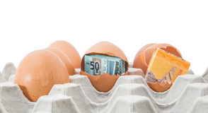 Malaysia Currency and Eggshells V Stock Photography