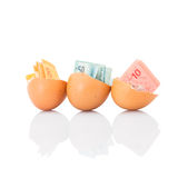 Malaysia Currency and Eggshells VII Royalty Free Stock Photos