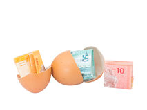 Malaysia Currency and Eggshells XI Stock Photo