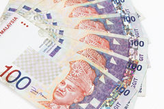 Malaysia Currency in white background. Close up of Ringgit Malaysia bills in white background Royalty Free Stock Photography