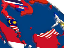 Malaysia on 3D map with flags Stock Photography