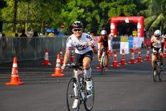 Malaysia-Eisenmann 2014 der Anfang des 180km Fahrrades Stockbild