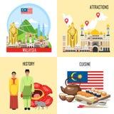 Malaysia-Fahne eingestellt mit malasian Anblick, Eigenschaften, Geschichte vektor abbildung
