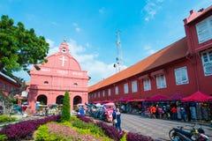 Malaysia - 10 Febuary 2017 :: Red christ church landmark of Mela Stock Photos