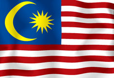 Malaysia Flag. National flag of malaysia waving in the wind Stock Illustration