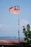 Malaysia Flag and Bridge Royalty Free Stock Images