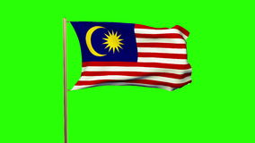 Malaysia flag with cloud waving in the wind. Green stock video