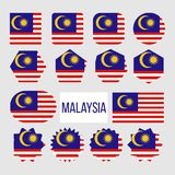 Malaysia Flag Collection Figure Icons Set Vector. Fourteen Stripes Alternating Red And White, Yellow Crescent And Star On Blue Field On National Symbol Of royalty free illustration