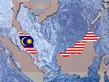 Malaysia with flag on globe Stock Image