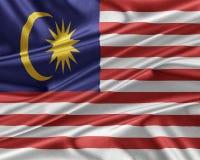 Malaysia flag with a glossy silk texture. Stock Photos
