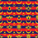 Malaysia flag icon islam building seamless pattern Royalty Free Stock Image