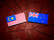 Malaysia flag with New Zealand flag on a tree stump isolated Stock Image