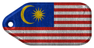 Malaysia flag. Painted on wooden tag Royalty Free Stock Images