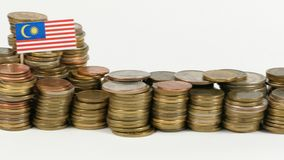 Malaysia flag with stack of money coins. Malaysia flag waving with stack of money coins stock footage