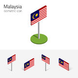 Malaysia flag, vector set of 3D isometric flat icons. Malaysian flag Malaysia, vector set of isometric flat icons, 3D style, different views. 100% editable Stock Photo