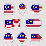 Malaysia flag vector set. Malaysian national flags stickers collection. Vector isolated geometric icons. Web, sports pages, patrio royalty free illustration