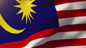 Malaysia flag waving in the wind. Looping sun stock footage
