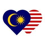 Malaysia flagga - hjärtaform arkivbild