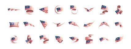 Malaysia flagga, vektorillustration på en vit bakgrund stock illustrationer
