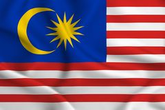 Malaysia flaggaillustration vektor illustrationer