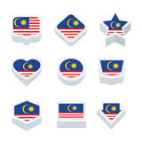 Malaysia flags icons and button set nine styles Stock Photography