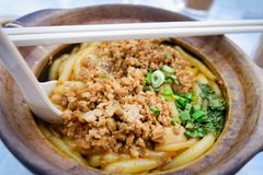 minced pork with Noodle Stock Photo