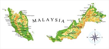 Malaysia fysisk översikt royaltyfri illustrationer