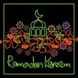 Malaysia hibiscus Ramadan Kareem frame card. This illustration is design Malaysia hibiscus flower with neon light Ramadan Kareem frame card in black color