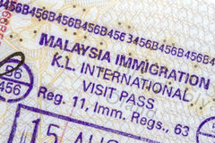 Malaysia Immigration Stamp Stock Photo