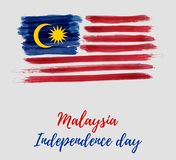 Malaysia Independence day - Hari Merdeka holiday. Malaysia Independence day background. With grunge painted flag of Malaysia. Hari Merdeka holiday. Template for Vector Illustration