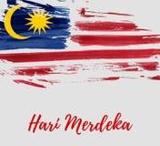 Malaysia Independence day - Hari Merdeka holiday. Malaysia Independence day background. With grunge painted flag of Malaysia. Hari Merdeka holiday. Template for Royalty Free Illustration