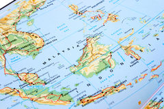 Malaysia and Indonesia. Map, many islands royalty free stock image