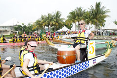 Malaysia International Dragon Boat Festival 2010. KUALA LUMPUR, MALAYSIA - JUNE 19 : Team Australia preparing for the race during the 1Malaysia International Royalty Free Stock Photo