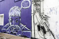 Malaysia - 19. Juli: Straßenkunst in Penang, Malaysia am 19. Juli, Stockfotos
