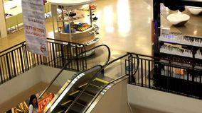 Malaysia. 30 july 2014. Mall with escalators and stock video
