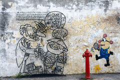 Malaysia - July 19 : street art in Penang, Malaysia on July 19, Royalty Free Stock Images