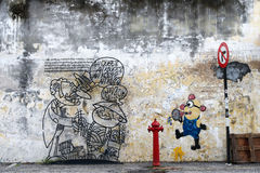 Malaysia - July 19 : street art in Penang, Malaysia on July 19, Stock Photo