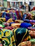 Colorful clothes. Malaysia kain baju kurung cantik rainbow blue yellow green red stock photos