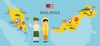 Malaysia-Karte und -marksteine mit Leuten in der traditionellen Kleidung Lizenzfreie Stockfotografie