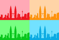 Malaysia Kuala Lumpur Colorful Set Skyline City Stock Photography