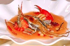 Malaysia Kuala Lumpur: Culinary 2007. Seafood soup with ginseng stock image