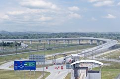 General view of long highway and overpass without cars. stock photos