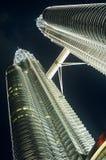 Malaysia Kuala Lumpur Petronas Towers night low angle view Stock Images