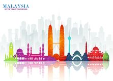 Malaysia Landmark Global Travel And Journey paper background. Vector Design Template.used for your advertisement, book, banner, t stock illustration