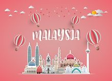Malaysia Landmark Global Travel And Journey paper background. Vector Design Template.used for your advertisement, book, banner, t. Emplate, travel business or stock illustration