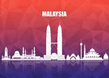 Malaysia Landmark Global Travel And Journey paper background. Vector Design Template.used for your advertisement, book, banner, t royalty free illustration