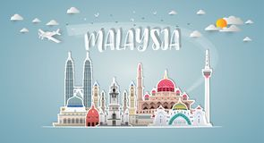 Malaysia Landmark Global Travel And Journey paper background. Vector Design Template.used for your advertisement, book, banner, t royalty free stock photo