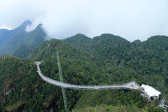 Malaysia Langkawi Island Bridge. Top view of abyss and a large suspension bridge Stock Image