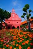 malaysia MALACCA - En sikt av Kristuskyrkan & holländarefyrkanten på 7 Arkivbild